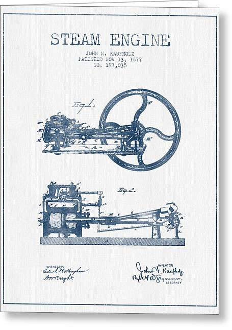 Steam Engine Greeting Cards - Kaufholz Steam Engine Patent Drawing From 1877- Blue Ink Greeting Card by Aged Pixel