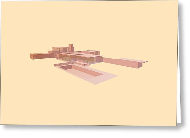 Graphic Architecture Greeting Cards - Kaufmann House - Richard Neutra Greeting Card by Peter Cassidy