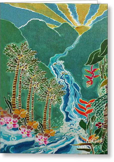 Uplifting Tapestries - Textiles Greeting Cards - Kaui Falls Variation Greeting Card by Jamie Schab