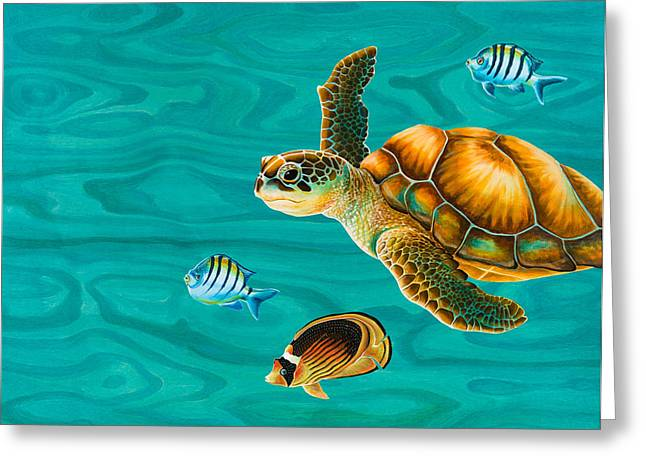 Snorkel Greeting Cards - Kauila Sea Turtle Greeting Card by Emily Brantley