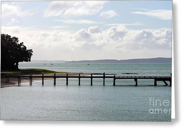 Kawakawa Bay Wharf Greeting Card by Gee Lyon