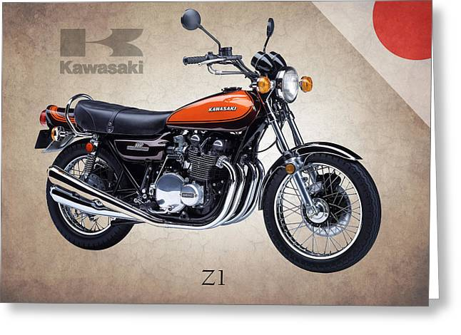 Motorcycle Poster Greeting Cards - Kawasaki Z1 Greeting Card by Mark Rogan