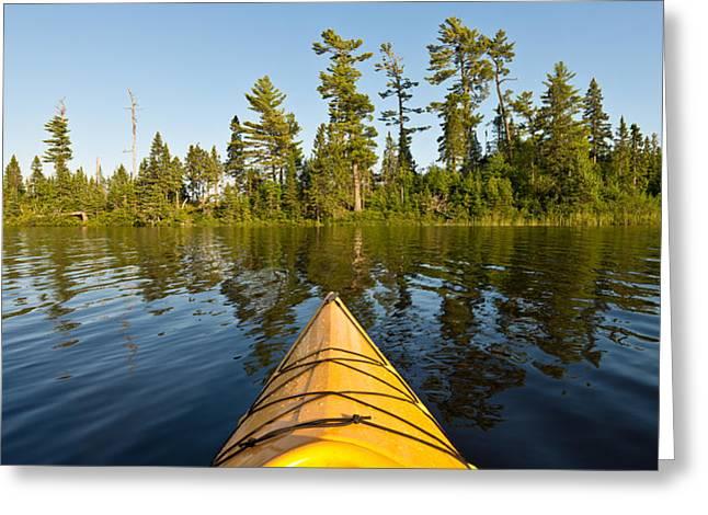 Boundary Waters Greeting Cards - Kayak Adventure BWCA Greeting Card by Steve Gadomski