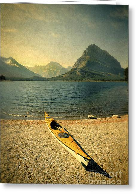 Kayak Greeting Cards - Kayak by Moutain Lake Greeting Card by Jill Battaglia