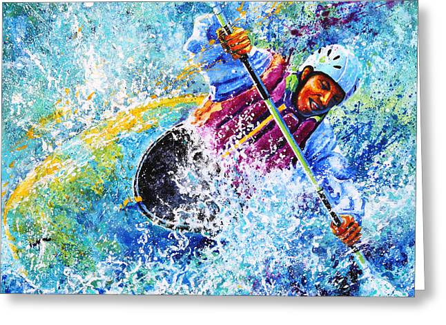 Sports Artist Greeting Cards - Kayak Crush Greeting Card by Hanne Lore Koehler