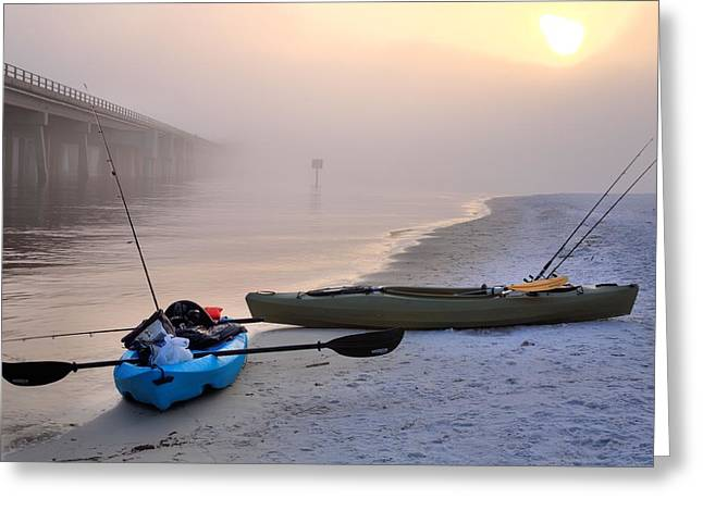 Best Sellers -  - Foggy Beach Greeting Cards - Kayak Destin Greeting Card by JC Findley