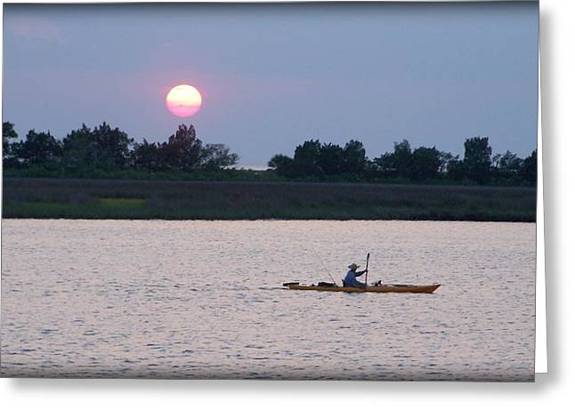 Sunset Framed Prints Greeting Cards - Kayak fishing 2 Greeting Card by Lynn Griffin