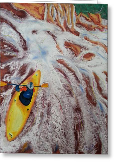 Canoe Pastels Greeting Cards - Kayak Greeting Card by Ianoty Art
