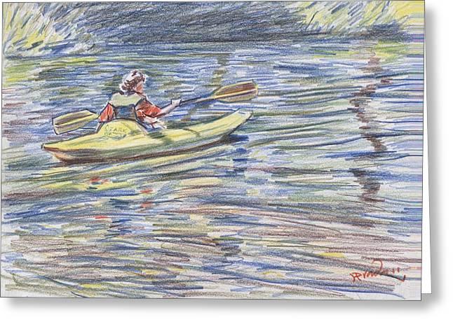 Canoe Drawings Greeting Cards - Kayak in the rapids Greeting Card by Horacio Prada