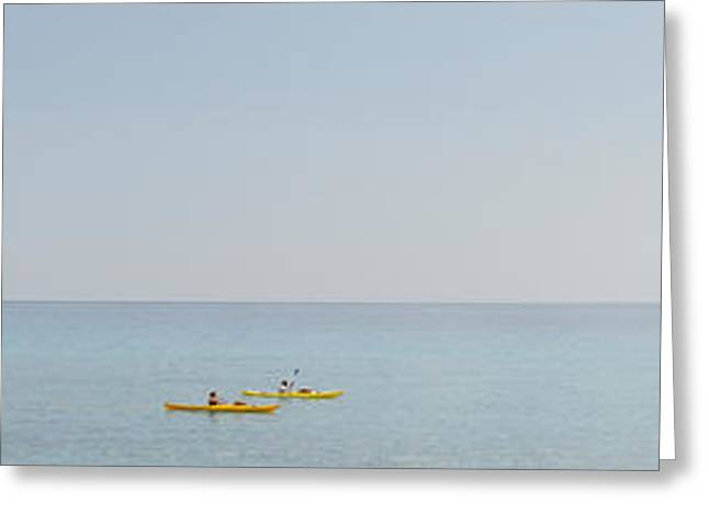 Luna Photographs Greeting Cards - Kayak In The Sea, Cala Luna Beach, Cala Greeting Card by Panoramic Images