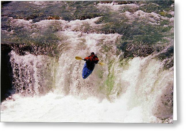 Souvenir Photo Studio Greeting Cards - Kayak Leap II Greeting Card by Al Bourassa