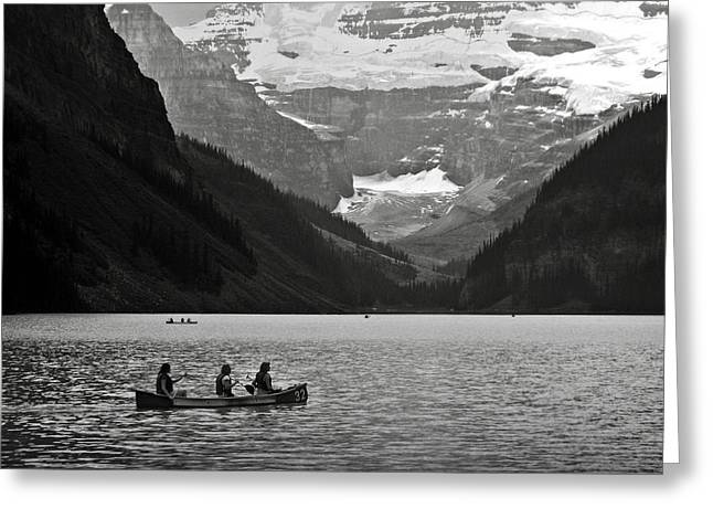 Chateau Greeting Cards - Kayak on Lake Louise Greeting Card by RicardMN Photography
