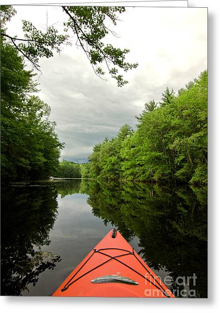 Boats On Water Greeting Cards - Kayak On The Powwow Greeting Card by K Hines