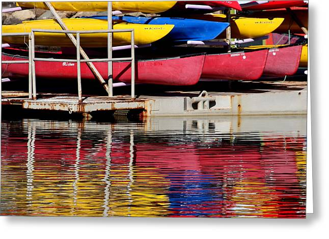 Morro Bay Ca Greeting Cards - Kayak Reflections Greeting Card by Art Block Collections