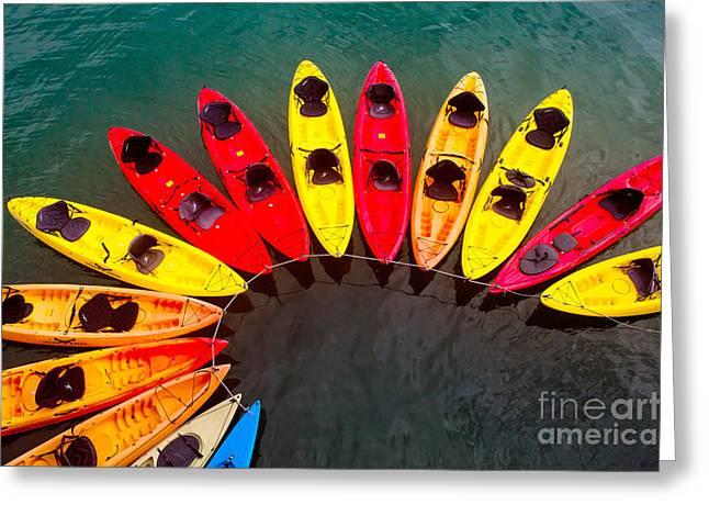 Santa Cruz Wharf Greeting Cards - Kayak Swirl Greeting Card by George  Saitas