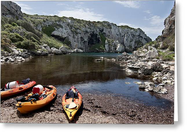 Panoramic Ocean Greeting Cards - Kayak time - The Landscape of Cales Coves Menorca is a great place for peace and sport Greeting Card by Pedro Cardona
