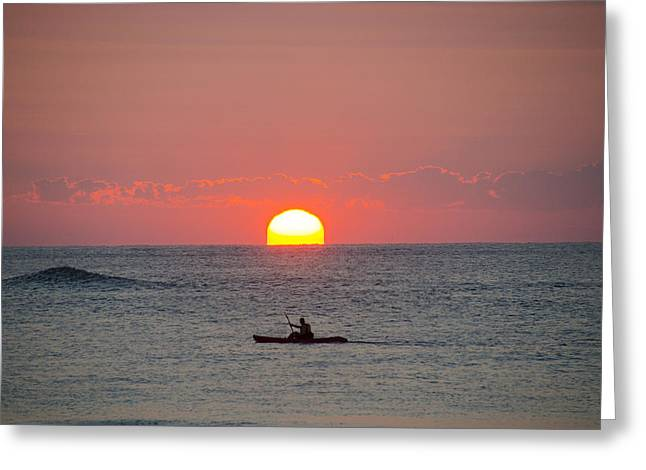 Kayaking Greeting Cards - Kayaker at Sunrise New Jersey Greeting Card by Bill Cannon