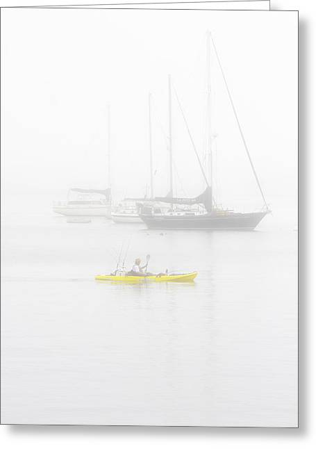 Yellow Sailboats Greeting Cards - Kayaker in the Fog Greeting Card by CJ Middendorf
