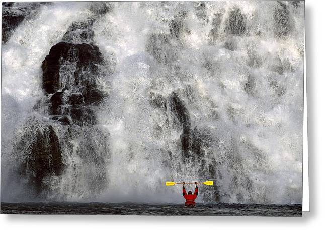 Beautiful Creek Greeting Cards - Kayaker Views Nugget Creek Falls Greeting Card by John Hyde