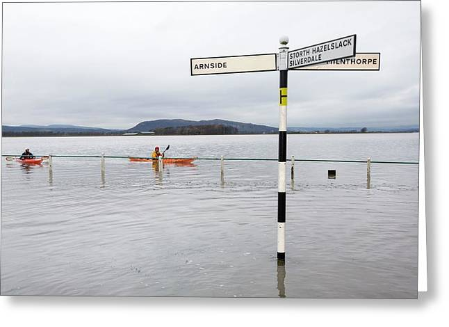 Kayakers In The Flood Waters Greeting Card by Ashley Cooper