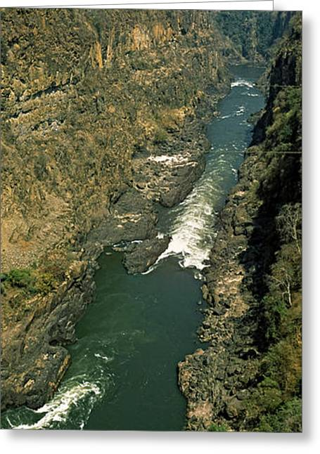 Zambezi River Greeting Cards - Kayakers Paddle Down The Zambezi Gorge Greeting Card by Panoramic Images