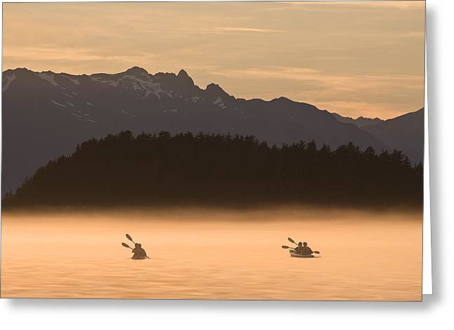 Sea Kayak Greeting Cards - Kayakers Paddling Through The Misty Greeting Card by John Hyde