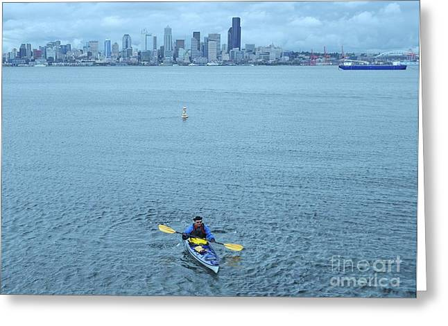 Bainbridge Island Greeting Cards - Kayaking Elliot Bay Greeting Card by Allen Beatty