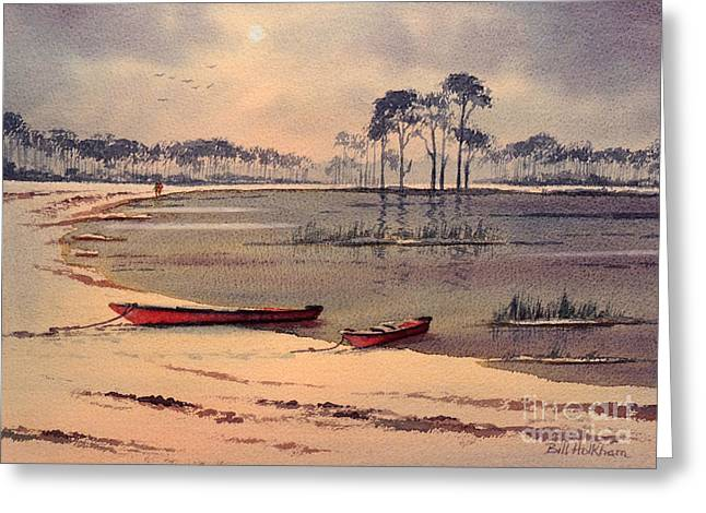 Canoe Paintings Greeting Cards - Kayaking In Florida Greeting Card by Bill Holkham