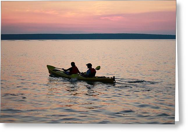 Sunset Posters Greeting Cards - Kayaking Lake Superior Greeting Card by Dan Sproul