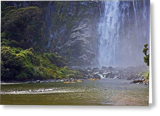 Canoe Waterfall Photographs Greeting Cards - Kayaking on Milford Sound Greeting Card by Stuart Litoff