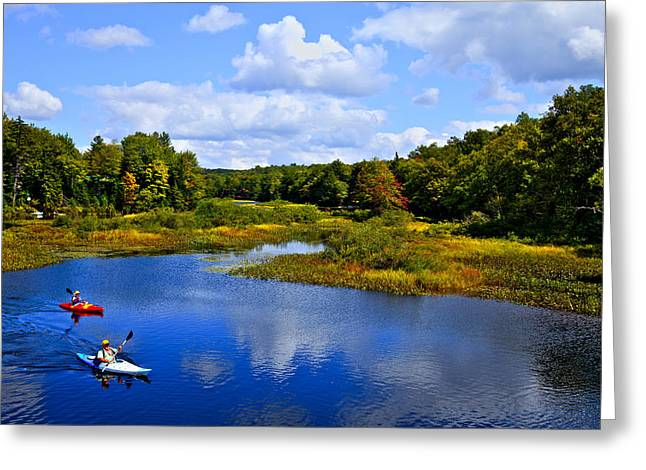 Aderondacks Greeting Cards - Kayaking the Moose River - Old Forge New York Greeting Card by David Patterson