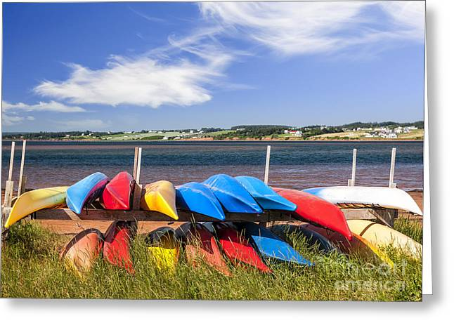 Canada Landscape Greeting Cards - Kayaks at Atlantic shore  Greeting Card by Elena Elisseeva