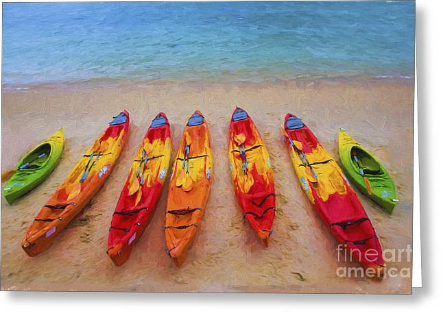 Kayak Greeting Cards - Kayaks at Manly Greeting Card by Sheila Smart