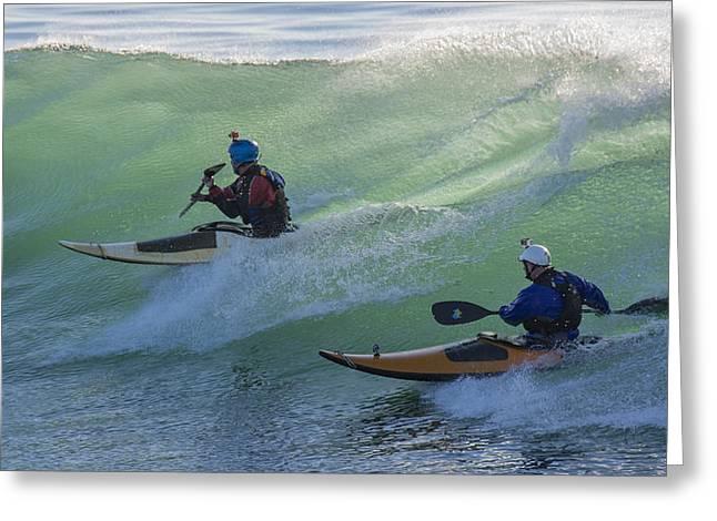 Santa Cruz Greeting Cards - Kayaks at Steamer Lane Greeting Card by Bruce Frye