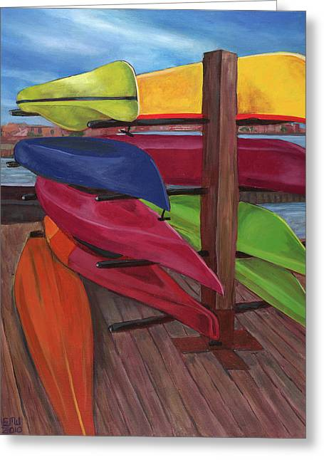 Edward Williams Greeting Cards - Kayaks at Tide Point Greeting Card by Edward Williams