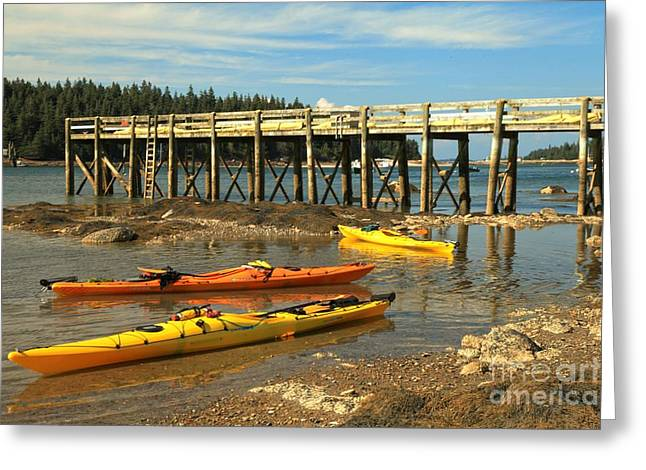 Haut Greeting Cards - Kayaks By The Pier Greeting Card by Adam Jewell