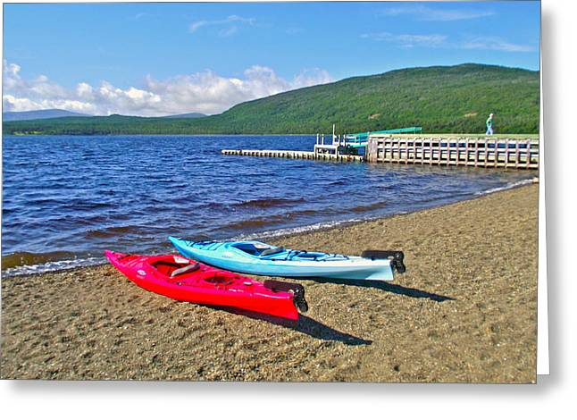 Pond In Park Greeting Cards - Kayaks by Trout Pond in Gros Morne NP-NL Greeting Card by Ruth Hager
