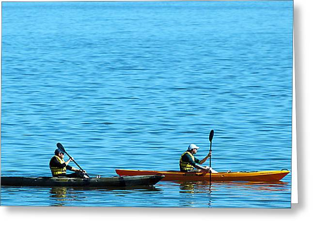 Water Vessels Greeting Cards - Kayaks Greeting Card by Donna Proctor