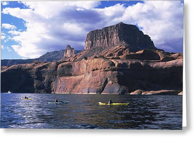 Lake Powell Greeting Cards - Kayaks In A Lake, Lake Powell, Page Greeting Card by Panoramic Images