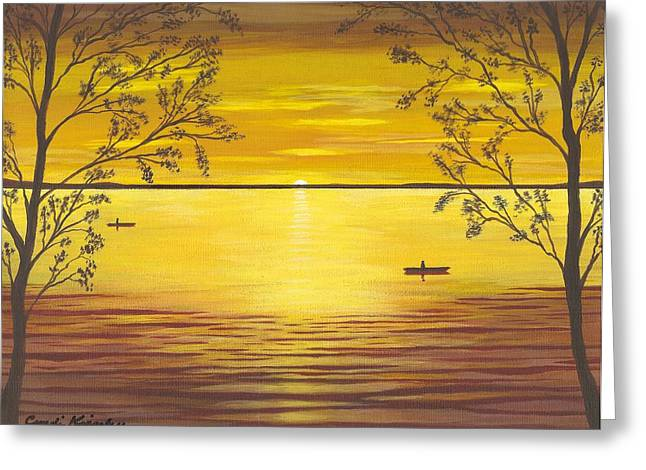 Cyndi Kingsley Greeting Cards - Kayaks In Golden Sunset Greeting Card by Cyndi Kingsley