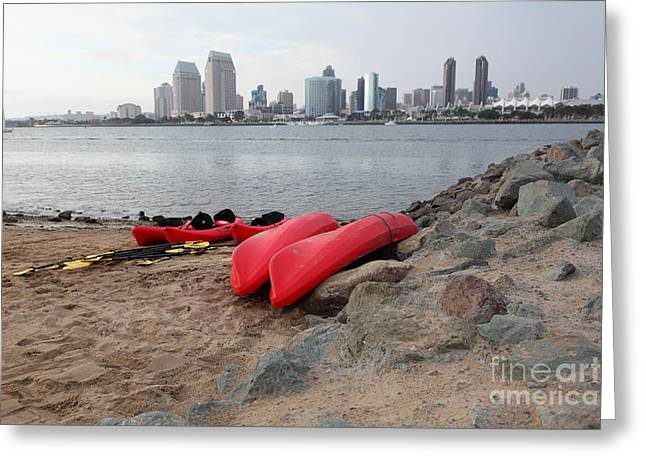 Petco Park Photographs Greeting Cards - Kayaks On Coronado Island Overlooking The San Diego Skyline 5D24368 Greeting Card by Wingsdomain Art and Photography