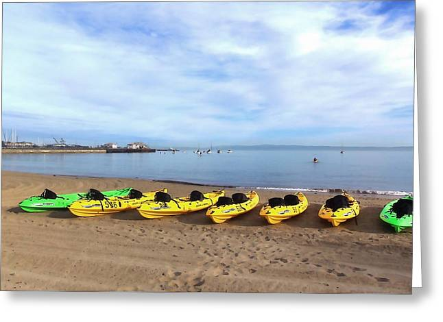 California Beach Art Greeting Cards - Kayaks on Monterey Bay Greeting Card by Art Block Collections