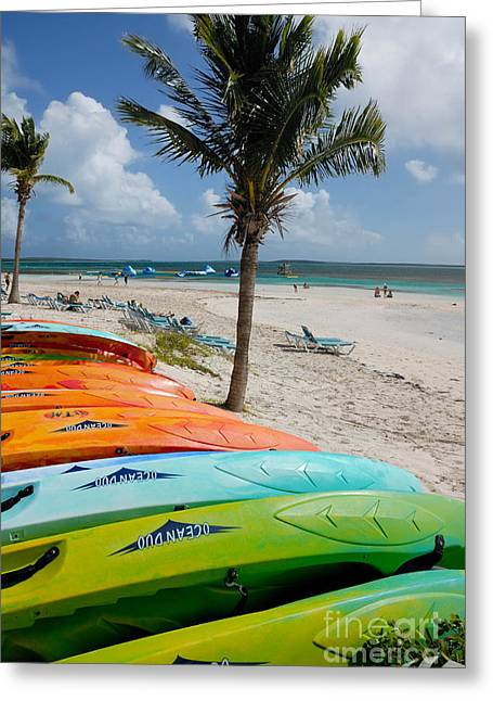 Cruise Vacation Greeting Cards - Kayaks on the Beach Greeting Card by Amy Cicconi