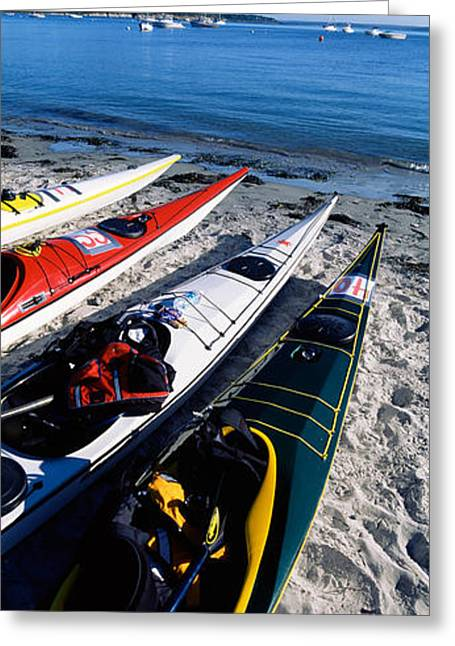 Beach Photography Greeting Cards - Kayaks On The Beach, Third Beach Greeting Card by Panoramic Images