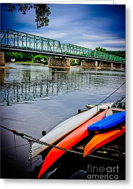 Original Art Photographs Greeting Cards - Kayaks on The Delaware Greeting Card by Colleen Kammerer