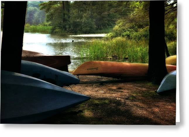 Ludington State Park Greeting Cards - Kayaks on the Shore Greeting Card by Michelle Calkins