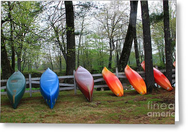 Spring In Maine Photographs Greeting Cards - Kayaks Waiting Greeting Card by Michael Mooney