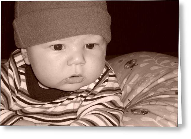 Boy Wearing A Hat Greeting Cards - Kayden 4months Greeting Card by Erica  Darknell