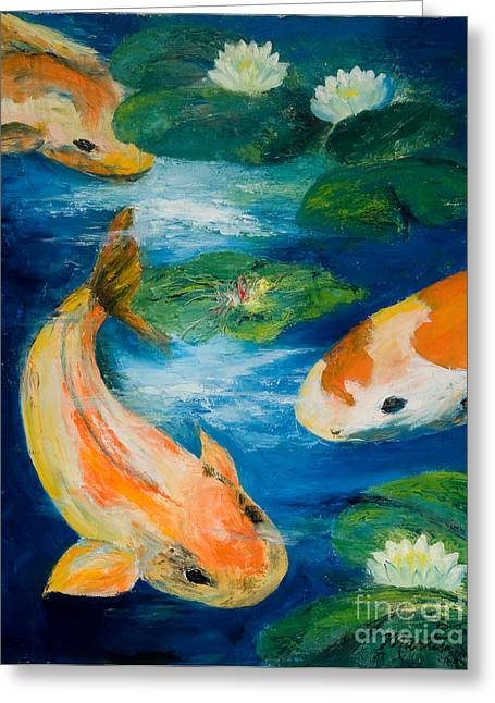 Kay's Koi Greeting Card by Larry Martin