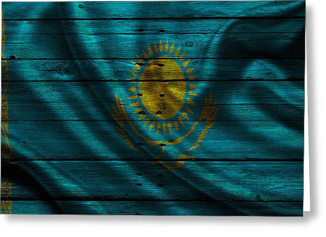 Continent Greeting Cards - Kazakhstan Greeting Card by Joe Hamilton